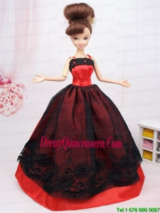 New Beautiful Black and Red Handmade Party Clothes Fashion Dress For Noble Barbie