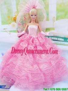 New Fashion Ball Gown Pink Dress Gown for Barbie Doll