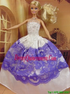 New Fashion Ball Gown White and Purple Dress Gown For Barbie Doll