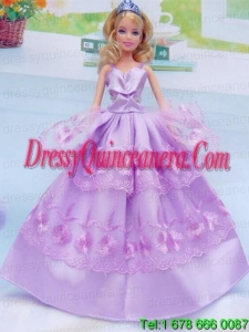 Taffeta and Embroidery For Lilac Barbie Doll Dress