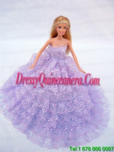 The Most Amazing Lilac Dress With Lace and Ruffles Made to Fit the Barbie Doll