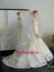 The Most Amazing Wedding Dress with Court Train Made to Fit the Barbie Doll