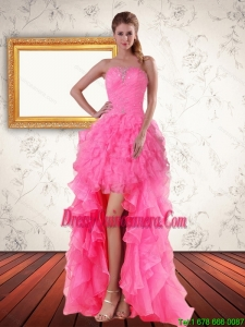 2015 Beautiful Baby Pink Strapless Dama Dresses with Beading and Ruffled Layers