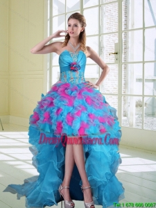 2015 Beautiful High Low Strapless Ruffled Dama Dresses with Hand Made Flower
