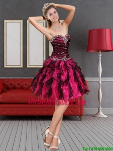 2015 Beautiful Multi Color Dama Dress with Beading and Ruffled Layers