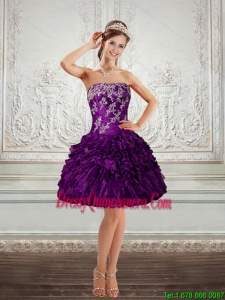 2015 Beautiful Purple Strapless Dama Dresses with Embroidery and Ruffles