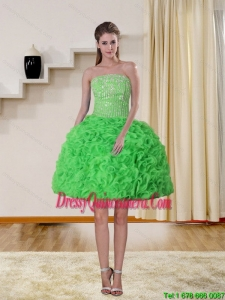 2015 Beautiful Spring Green Strapless Dama Dresses with Beading and Ruffles