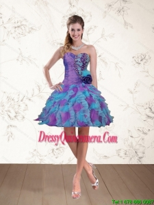 2015 Beautiful Spring Sweetheart Beaded Multi Color Dama Dresses with Hand Made Flower