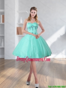 2015 Beautiful Spring Turquoise Sweetheart Dama Dresses with Embroidery