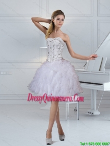 2015 Beautiful Strapless White Dama Dresses with Ruffles and Beading