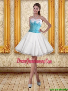 2015 Beautiful White Sweetheart Dama Dresses with Blue Embroidery