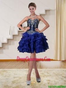 2015 Navy Blue Sweetheart Short Dama Dresses with Beading and Embroidery