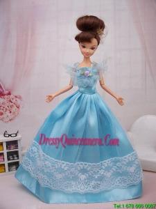 Aqua Blue Hand Made Flower Princess Barbie Doll Dress