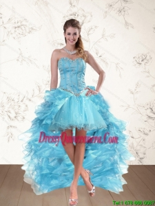 Beautiful Baby Blue Sweetheart High Low Prom Dresses with Ruffles and Beading