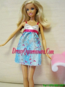 Beaded Ombre Color Dress With Straps Mini Length Barbie Doll Dress