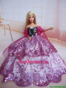 Beading Decorate Ball Gown Colorful Barbie Doll Dress