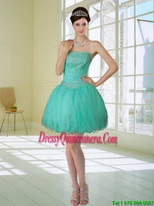 Beautiful Apple Green Strapless 2015 Dama Dresses with Embroidery and Beading
