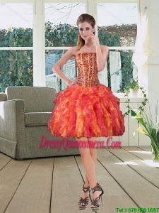 Beautiful Ball Gown Strapless Multi Color 2015 Dama Dresses with Beading and Ruffles