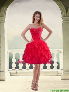 Beautiful Ball Gown Strapless Red 2015 Dama Dresses with Ruffles and Beading