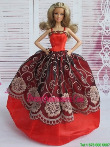 Beautiful Embroidery Ball Gown Red and Black Barbie Doll Dress