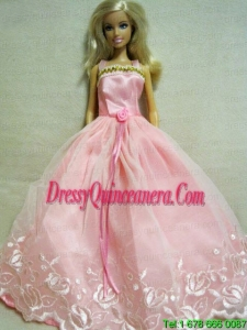 Beautiful Pink Dress With Embroidery Dress For Barbie Doll