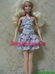 Beautiful Printing Short Colorful Barbie Doll Dress