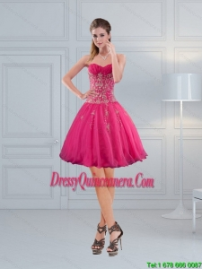 Beautiful Sweetheart Hot Pink Dama Dresses with Embroidery and Beading