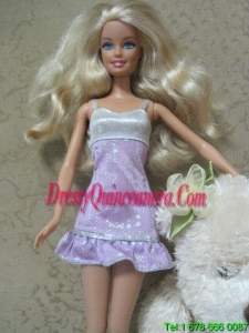 Cute Handmade Lilac Party Dress With Sequin Dress For Barbie Doll