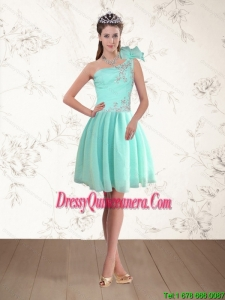Discount and Beautiful Apple Green One Shoulder Dama Dresses with Beading