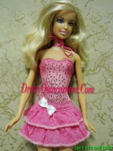 Elegant Beading Short Hot Pink Barbie Doll Dress