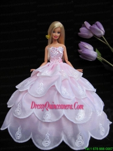 Embroidery Pink Ruffled Layers Ball Gown Barbie Doll Dress