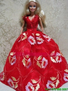 Embroidery Red Ball Gown Barbie Doll Dress