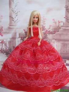 Exclusive Ball Gown Red Taffeta Barbie Doll Dress