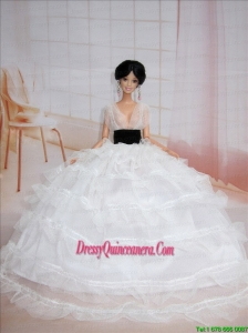 Exclusive Ball Gown White Wedding Clothes Barbie Doll Dress
