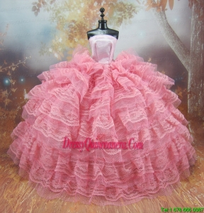 Exclusive Lace Decorate Ball Gown Pink Barbie Doll Dress