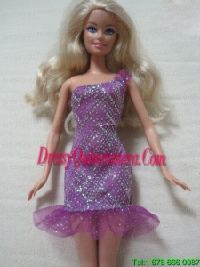 Fashion One Shoulder Mini Length Dress With Beading Gown For Barbie Doll
