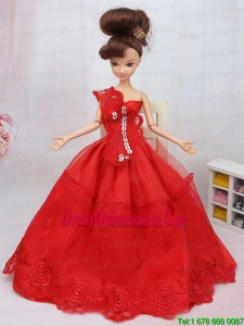 Hand Made Flower and Beading Red Organza Barbie Doll Dress