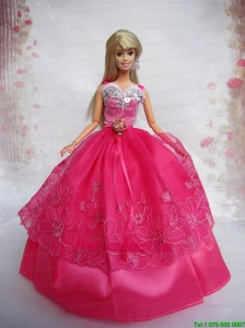 Lovely Hot Pink Ball Gown Taffeta and Organza Barbie Doll Dress