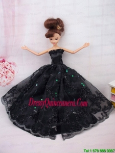 Modest Ball Gown Lace Black Party Clothes Barbie Doll Dress
