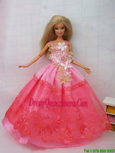 New Beautiful Pink Lace Handmade Party Clothes Fashion Dress for Noble Barbie