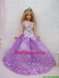 New Beautiful Princess Lilac Lace Handmade Party Clothes Fashion Dress for Noble Barbie