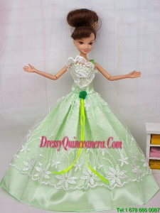 Popular Princess Apple Green Lace and hand Made Flower Party Dress For Barbie Doll