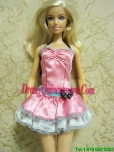 Pretty Bow Short Pink Barbie Doll Dress