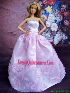 Simple Lilac Princess Embroidery Barbie Doll Dress