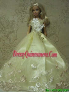 Yellow Green Handmade Dress With Embroidery Gown for Barbie Doll