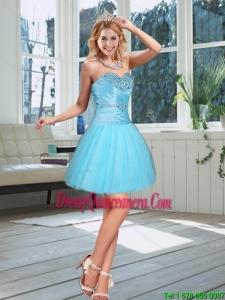 2015 Beautiful Baby Blue Sweetheart Dama Dress with Beading