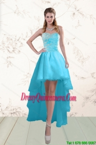Beautiful Baby Blue Dama Dresses with Beading and Ruffles