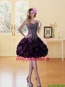 Beautiful Beading Burgundy Sweetheart Dama Dress with Ruffled Layers