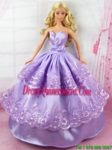 Beautiful Lilac Gown With Embroidery Made to Fit the Barbie Doll