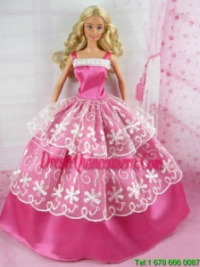 Beautiful Pink Gown With Embroidery For Barbie Doll